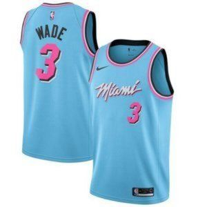 NEW NBA Dwyane Wade Miami Heat Throwback Blue City
